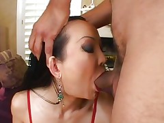 Sassy Ange Venus gets her juicy throat hammered