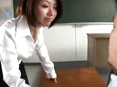 Teacher Giving Oral pleasure For Her Student In The Classroom
