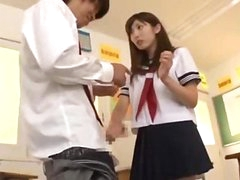Schoolgirl On Her Knees Giving Oral-sex Cum To Mouth And Face In The Classroom
