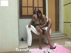 Luana&Claudio sheboy pantyhose act