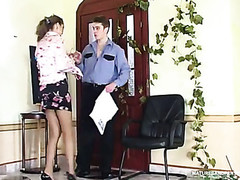 Lusty mature gal in control top tights luring policeman into fucking frenzy