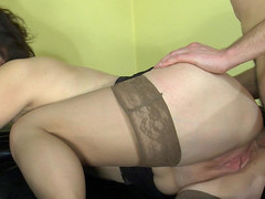 Sultry mama receives in-heat tempting her young neighbor into pushing her butt