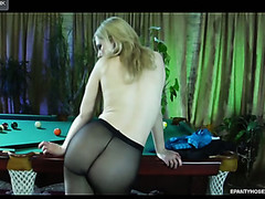 Naughty golden-haired gal flashing her taut pantyhosed bottom in the billiard room