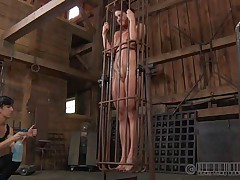 A metal cage and a harsh femdom-goddess is all that this cunt needs to be disciplined. Stick around and have a fun how the femdom-goddess plays with this naked cutie and how obedient this babe will become. Every nasty floozy merits a treatment like this!