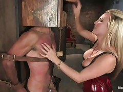 Domina Harmony doesn't allows men to do what they want, so, with the help of her chains and all sorts of simple but efficient tools she punishes this muscled guy, first by adding clothespins on his face and then by thrashing him while he's in chains. She does her job perfectly and soon this man will be resigned enough