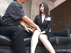 She is a dark brown teacher with a hawt body underneath these sexy clothes. After a short talk with this fellow that babe ends down on her knees and with his pecker in her mouth. The fact that this chab is treating her like a cheap doxy and the feeling of his knob in her throat makes her horny. She likes being abused like a bitch