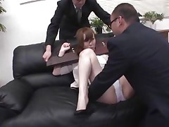 Now here's a concept that works! A horny oriental milf secured with a servitude device seems not agree what's going to happen with her large booty. But after the man cuts her panties with scissors and inserts his finger in her constricted shaved asshole she suddenly begins groaning and enjoys the treatment.
