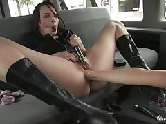 People walk near that van and nobody pays it attention but inside that car smth sexy is taking place. 2 wicked doxies are having some lesbo love as one of them spread her legs and the other gives her a unfathomable pussy fisting. They use sex toys to make things interesting but what if a dude will discover them?