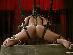 The chains are not enough for her as that babe groans being punished. This bitch takes it hard, as hard as that babe can endure and her body ask for greater quantity as that babe gets hornier by the minute. Look at her hanging in chains, getting face hole fucked with a large black vibrator and humiliated as hard as possible, that babe wants greater quantity and will get it.