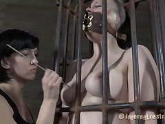 Yeah bitch, u deserve this punishment. U thought that everything needs to be your way and always had lack of respect. Let's see u in that cage how punk u are now. It's a bit humiliating for such a bad ass girl like u to be caged, bound and pussy rubbed isn't it? Stay there and shut the fuck up.