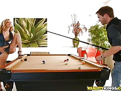 He had sufficiently playing snooker with her and now desires to play with that hairy bawdy cleft betwixt her hawt thighs. The cute bitch Nicole is glad to suggest him her fur pie and lays on the table, spreads her hips and let's him do what this chab desires with that sweet hairy cum-hole in advance of engulfing his schlong with her luscious lips