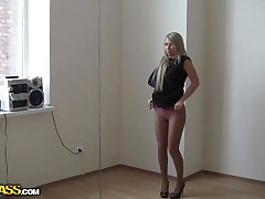 Our dudes strikes another time and this time this is a sexy blonde Suzanna. After much negotiation this babe has acceded to give the viewer a little joy for money. When they have arrived the destination this whore is eagerly putting her dresses off one by one and begins posing in front of the camera.
