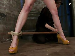 Golden-haired wench with big breasts, high heels and long sexy legs and a sexy camel toe is getting tied up and whipped. That babe has duct tape on her mouth that babe that babe will shut up as that babe gets her harsh treatment. A women puts clamps on her hard nipps and whips the bitch hard on her horny face and squeezed tits but especially on these clamps. I think this wench enjoys the pain and maybe that babe will receive a lot more of it.