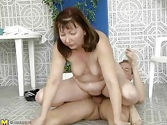 This older woman was looking for a swim, but a more astonishing exercise to loosen u up is riding a cock, which is exactly what she's doing. She slides down every inch of her man's dick, loving the feeling of being fucked. She gets off to ride him normally, and this guy thrusts up hard and fast in her hirsute cunt.