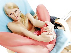 Naughty Czech chick Kasia takes off her red hose after taunting us with her lengthy hot legs and inserts 'em in her shaved tight pussy. She can't live out of the feeling of having nylon in her cunt and puts her pants on whilst those hose are still in her vagina. This blonde chick is going to take a walk with nylon in her vagina?