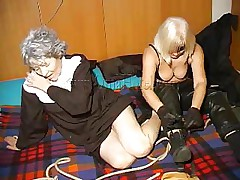 An old nun is about to experience something that she not at any time though it's possible. This blond unties her hands and gives the old whore some whipping. She then rolls her over whips her some greater amount and starts to undress. This is a classic and things are just about to acquire a lot greater amount interesting, stay with us and watch