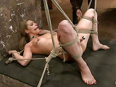 Take a look how hard her wet crack is sucked! The golden-haired hottie is about to acquire a hard castigation from her experienced mistress. She hangs her upside down, removes the sucker and oils her pussy. After that the mistress fingers deeply the blonde's fur pie and makes her shriek insanely and almost to cum!