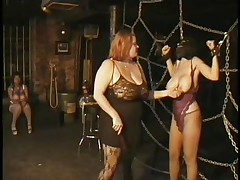 Here's a oldie but goldie bdsm. Headmistress Bianca taunts her female sex thrall not only with her big delicious boobs but with her skills too. That babe ties Carla's big breasts with rope and squeezed them hard after she played with them. Carla will have to obey the will of her mistress because she's fastened hard
