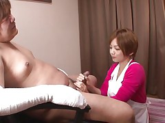 'coz this guy has his hands injured and can't masturbate the sweet nurse Meguru helps him with that problem. She takes off her clothes, remains solely in that sexy white bra and panties and then begins to take up with the tongue his dick gently. Meguru wants to satisfy him and gets a of of jizz in return!