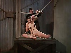 That guy tied her in a very uncomfortable position and used clamps on her nipples. She is ball gagged so that the screaming and moaning won't disturb the executor as he roughly rubs her cunt with a vibrator. The bitch stays there and has nothing to do then accept her situation. Curios what else awaits this bitch?