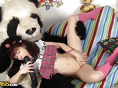 Selena likes Pandas more then ecologists and surely in a very different way. What this hottie likes almost all about 'em is that giant dick and the way this hottie fills her pussy with it like in this case. See how the brunette hair hotty spreads her thin legs and acquires her vagina ripped, this hottie likes it that way and we have a enjoyment seeing her