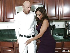 Johnny Sins and Francesca Le was having quite a fun in the kitchen. Johnny got a boner by looking at Le's cleavages and Le was helping Johnny to cool off by giving him a blowjob. When Ariella Ferrera came in the kitchen this babe also wanted to join the suck party and lucky Johnny gets a hell of a duet blowjobs while tese hawt and sexy milf are taking out their boobs!