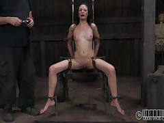 She wanted to to be humiliated and punished just like a slut that she is. Well Hailey got what she wanted and now she's tied up on that chair and disgraced. The executor wrote slut on her forehead and opened her mouth with a device. Wonder why? Then stick around and discover out!