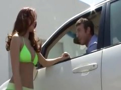 Sweetheart washes his car in bikini