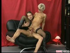 Shorthaired aged takes it in the one and the other holes
