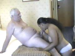 Chubby playgirl from India grinding on white old man's meaty cock