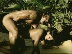 Thrilling anal and a facial outdoors