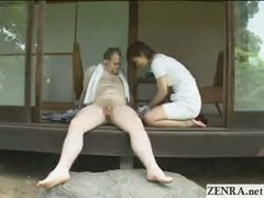 Japanese CFNM countryside dick cleaning service with breasty cuties