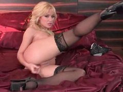 Gorgeous and beautiful blond toy fucks solo