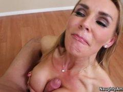 Blistering Tanya Tate gets splattered in wang milk