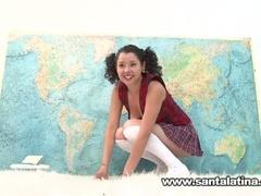 Hawt wicked latina masturbating while taking geography test